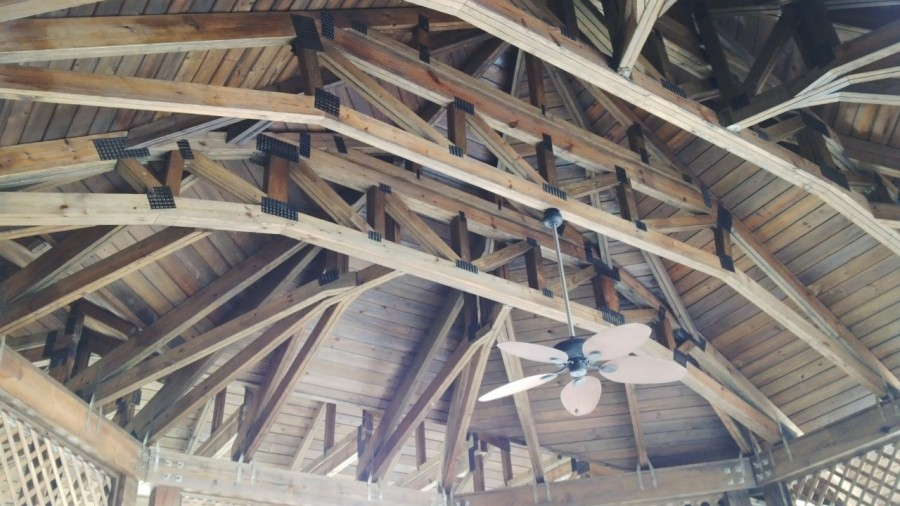 Exposed timber trusses using pre fabricated wood trusses for Exposed trusses cost